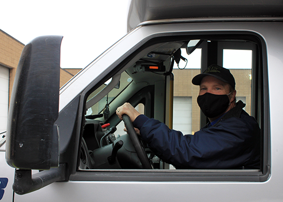 All drivers wear masks to keep everyone safe