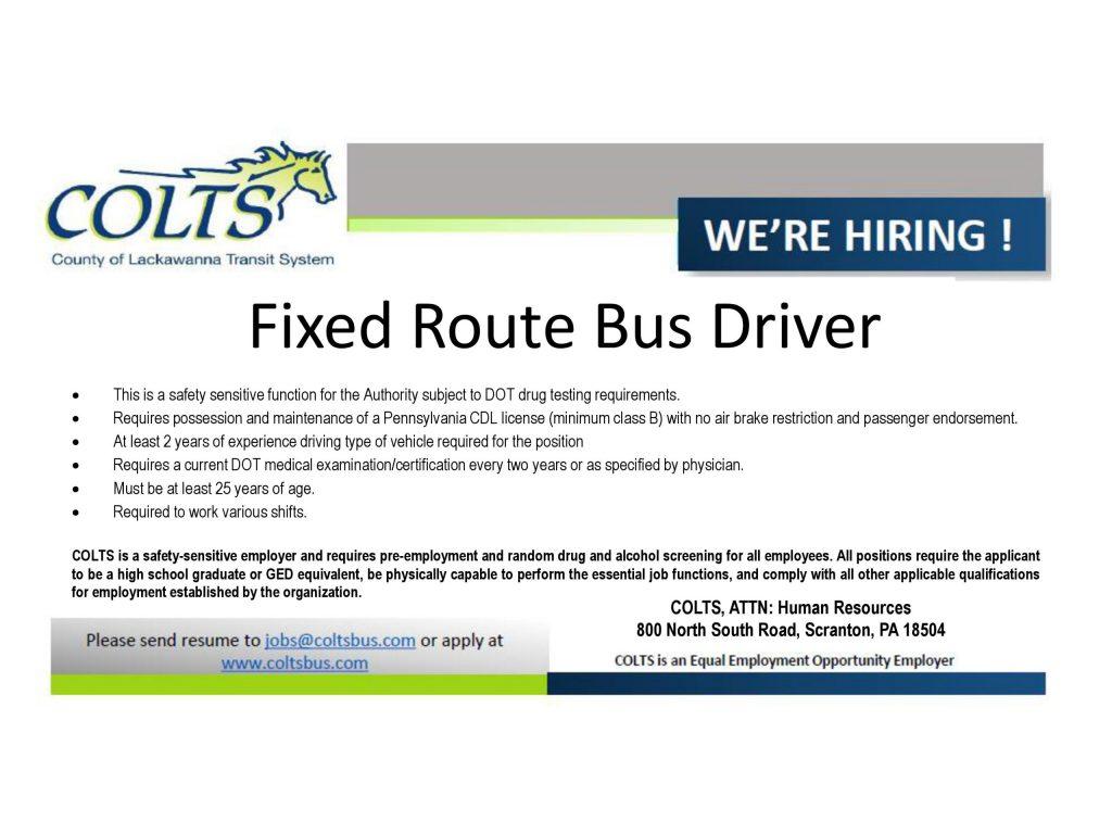 job description for fixed route bus driver